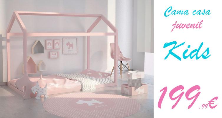 Cama casa madera rosa2