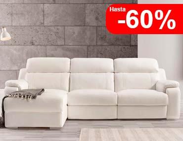 Sofa chaise longue en piel