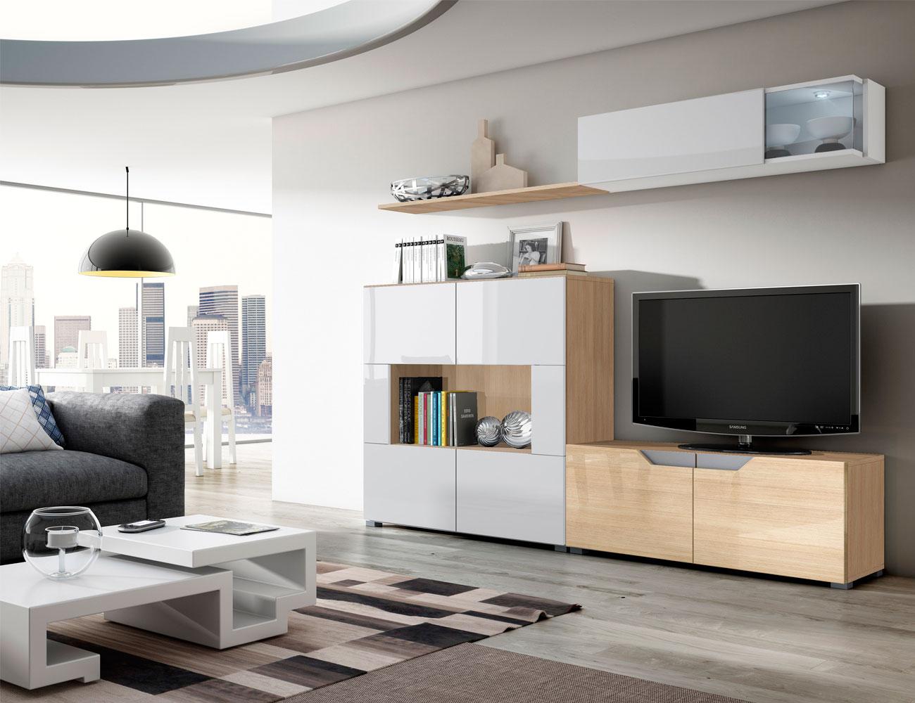 01 mueble salon comedor vitrina blanco artico brillo roble