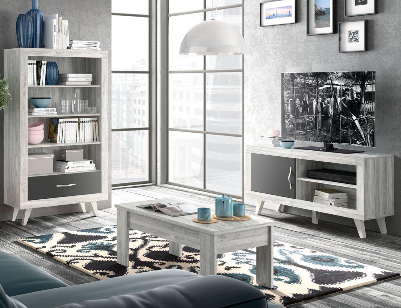 142 salon comedor bajo tv modulo estanteria artic grafito mate