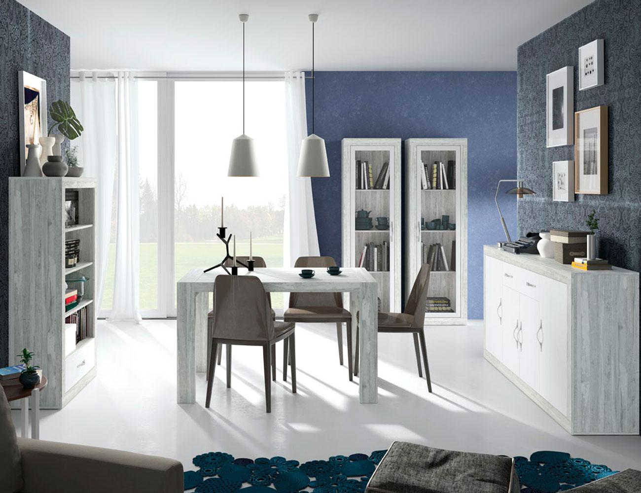 144 mueble salon comedor vitrina aparador estanteria mesa artic soul blanco