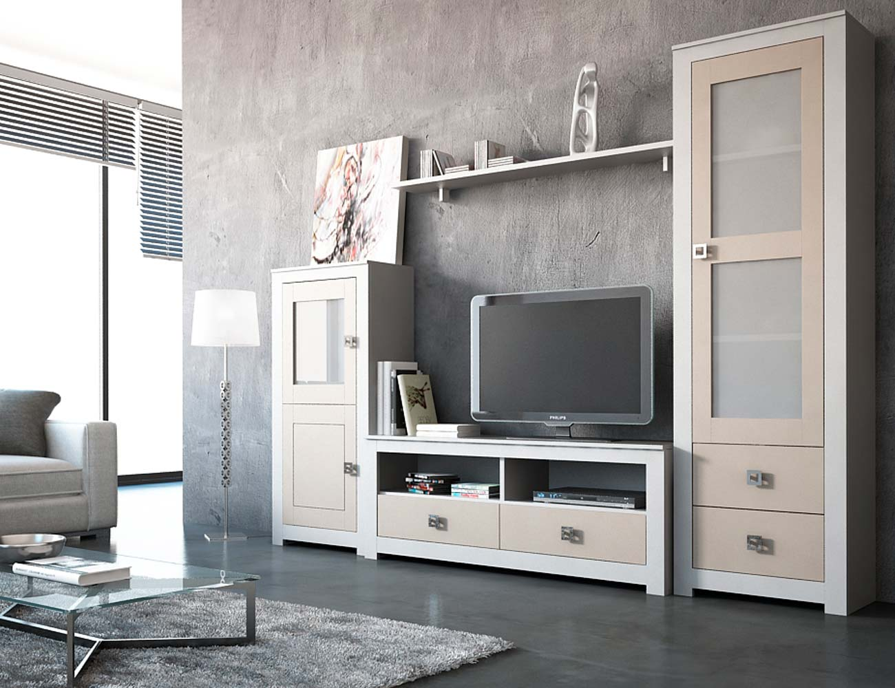 Mueble de sal n modular lacado en blanco con piedra en for Pared de piedra salon