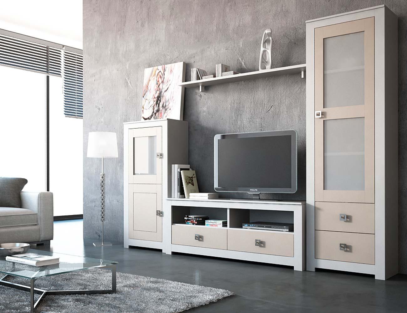 2 mueble salon modular lacado blanco piedra madera dm3