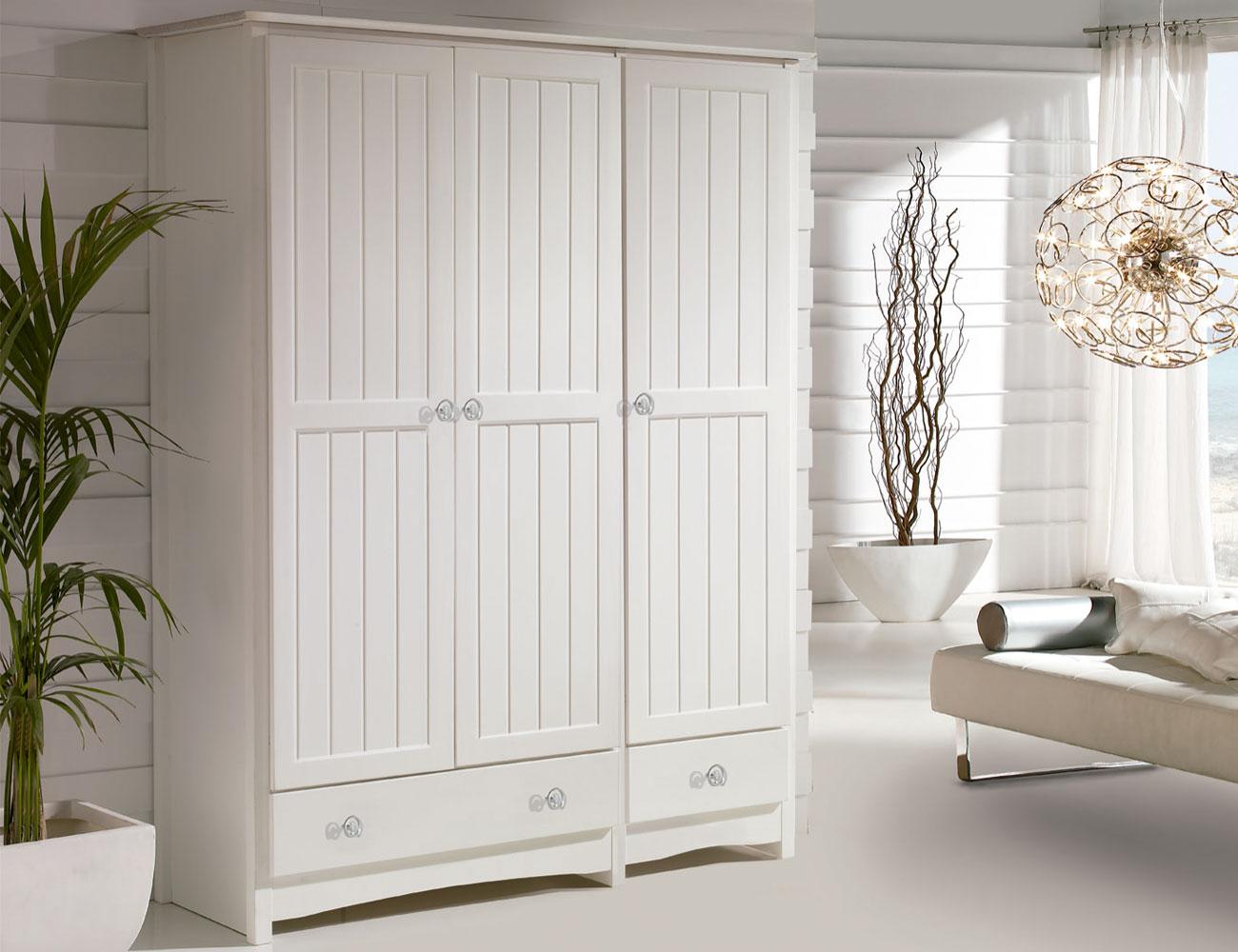 Armario 2 puertas en blanco lacado 8057 factory del - Armario madera blanco ...