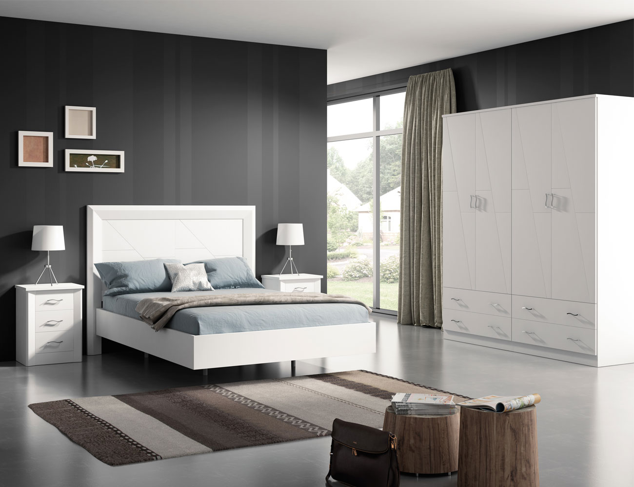 dormitorio de matrimonio en madera con cabecero tapizado