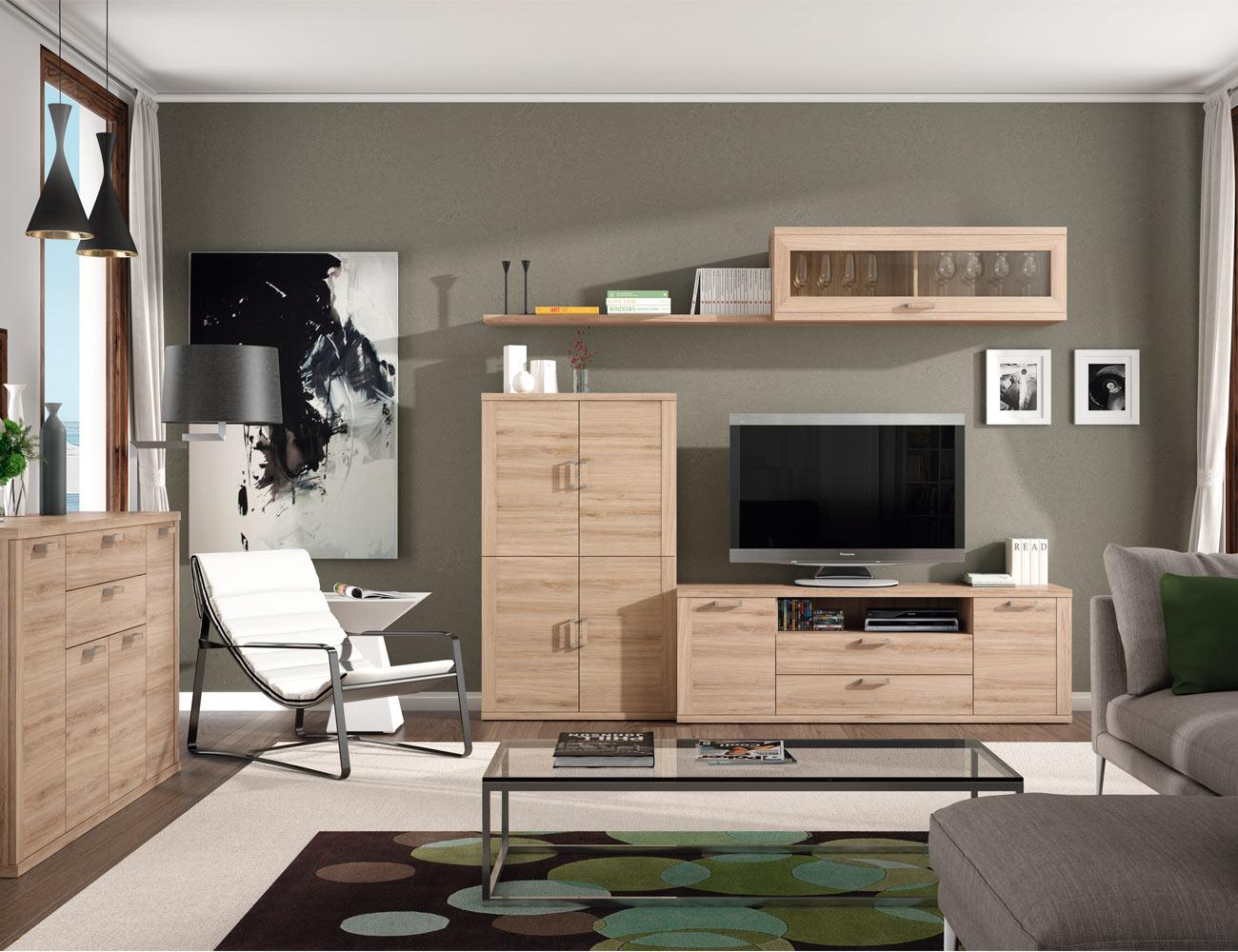 408 mueble salon comedor bodeguero tv  roble natural