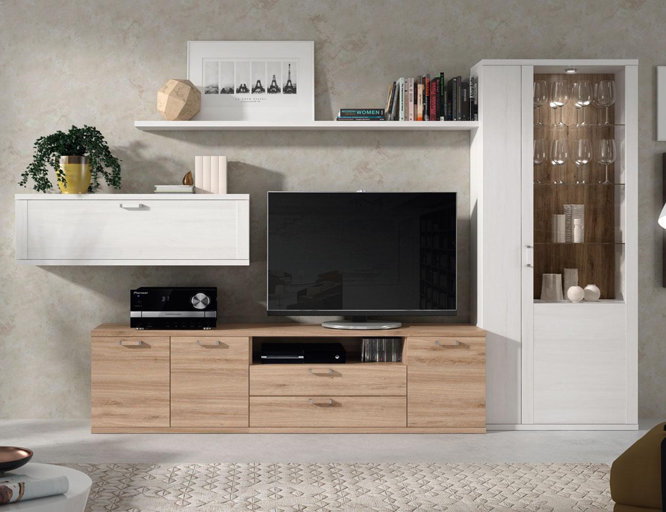 411 mueble salon comedor vitrina tv roble natural