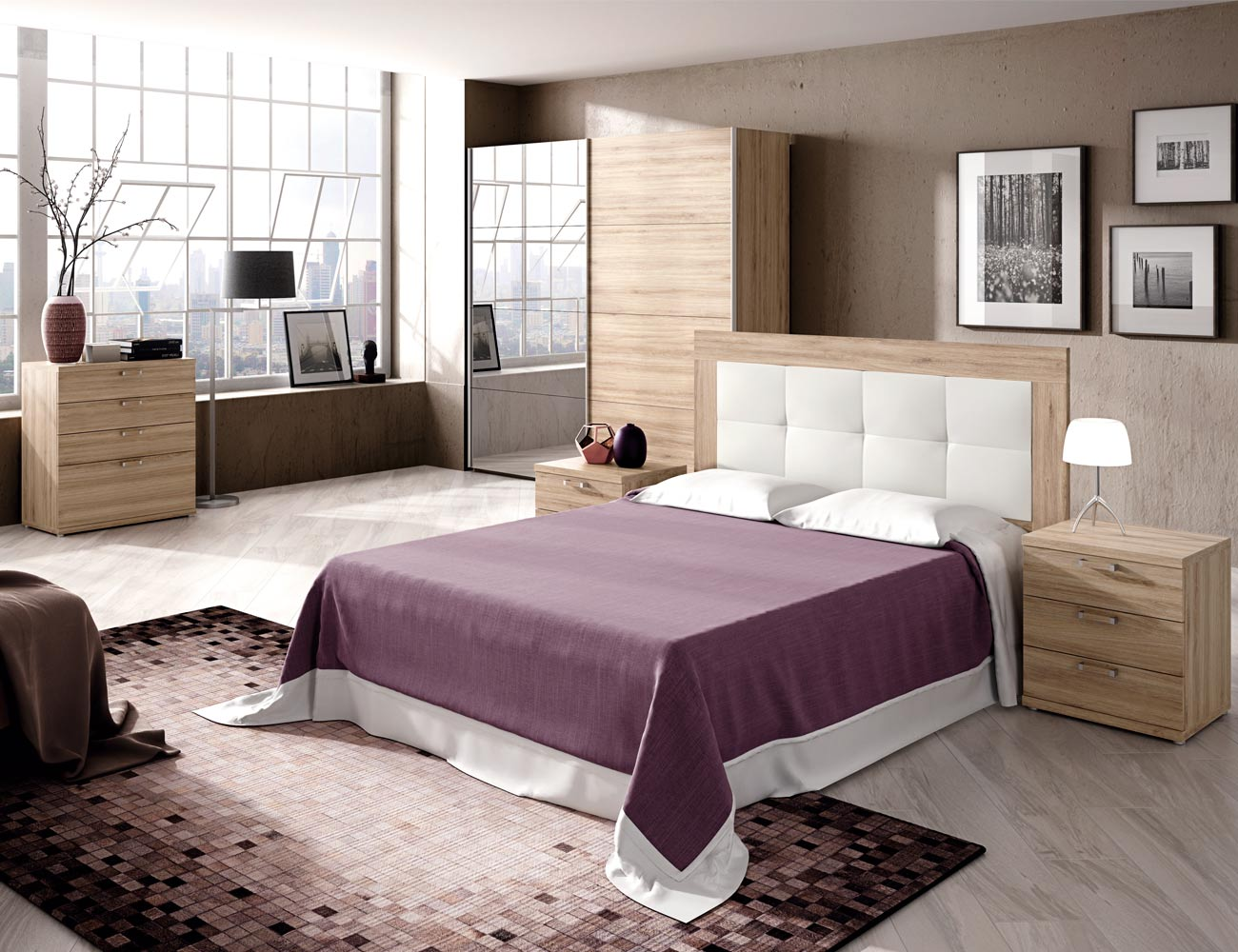467 dormitorio matrimonio cabecero tapizado comoda armario roble1