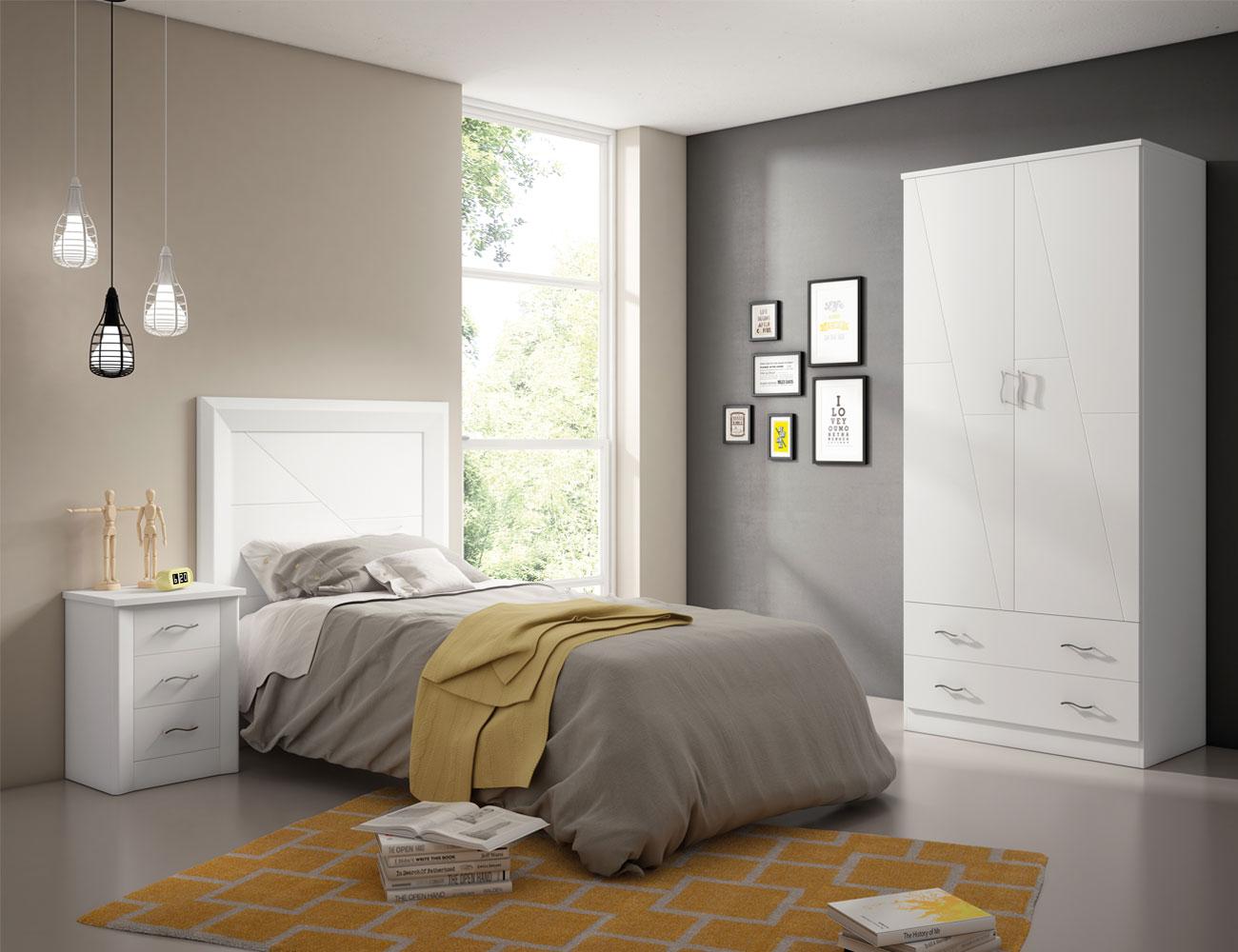5 dormitorio juvenil madera blanco lacado