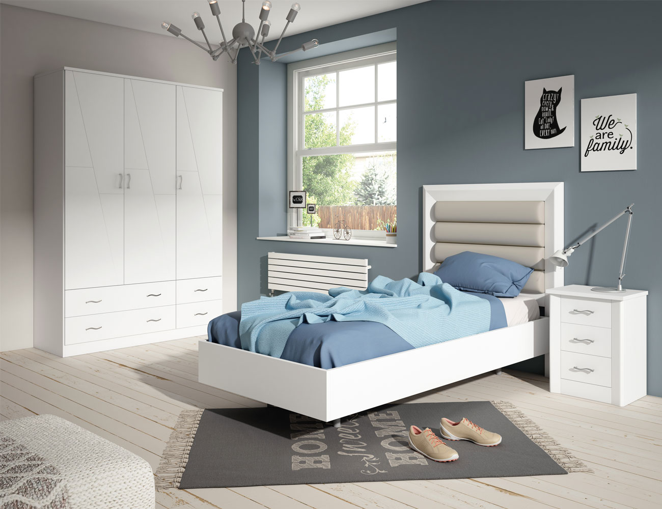 Dormitorio juvenil en madera color blanco lacado y con for Dormitorios color blanco