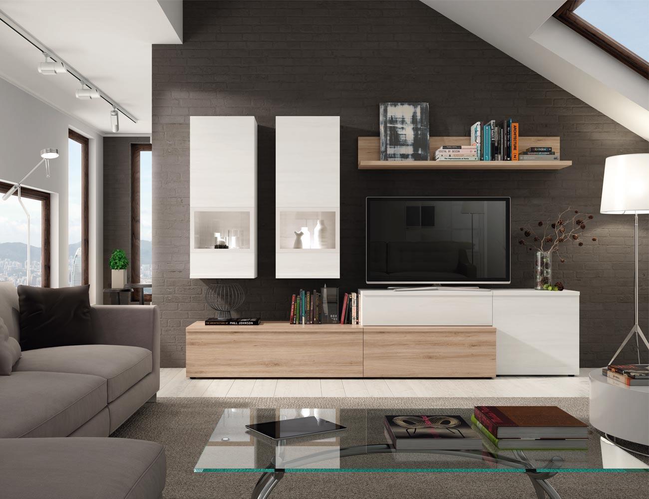 609 mueble salon comedor roble natural polar1