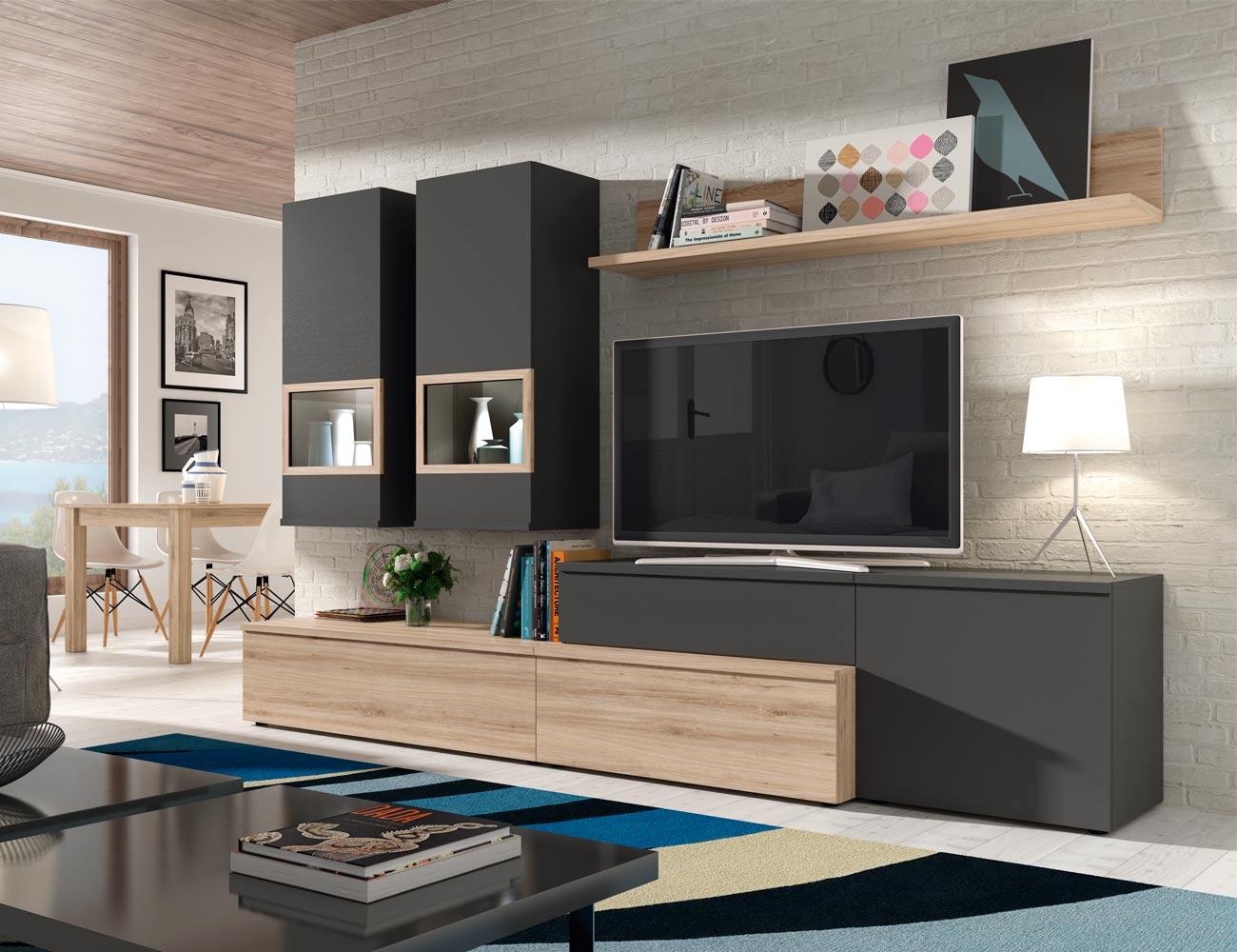 610 mueble salon comedor roble natural antracita focos leds