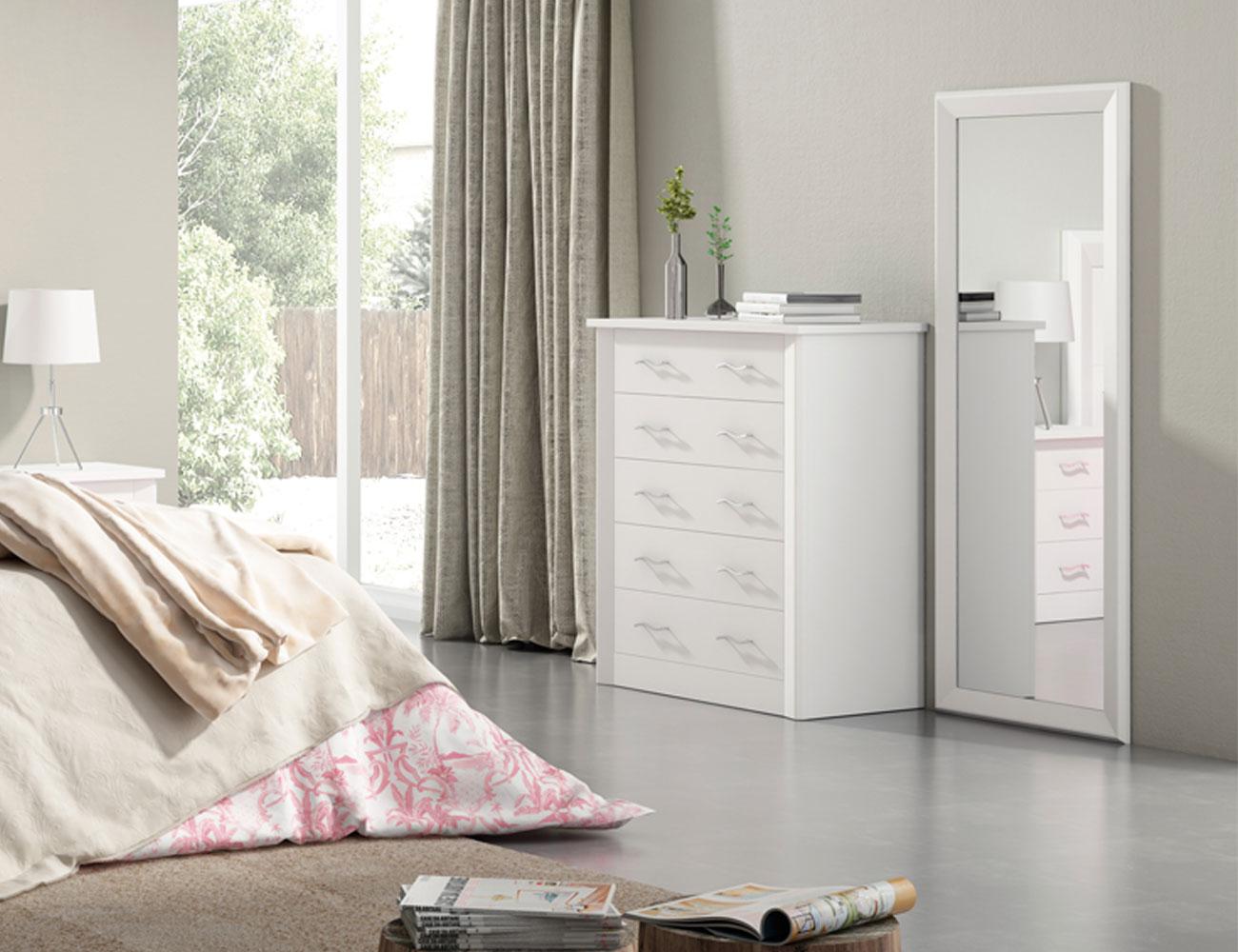 Dormitorio de matrimonio en madera con cabecero tapizado - Cabecero tapizado blanco ...