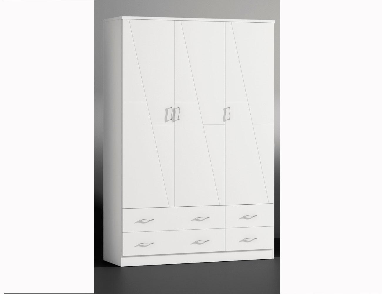 Armario 4 puertas en madera en color blanco lacado 8053 - Armario madera blanco ...