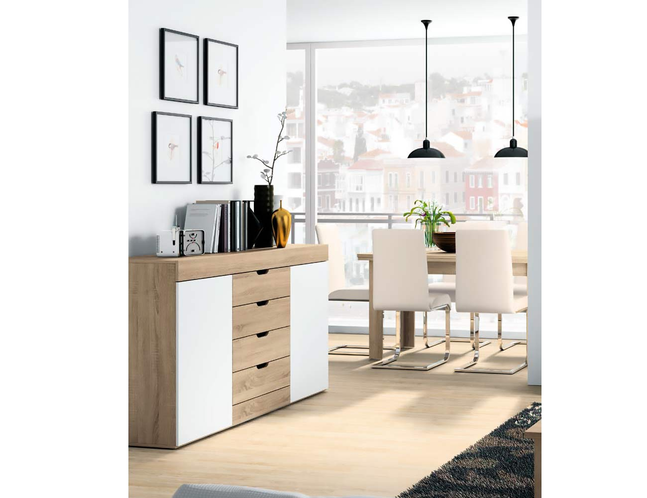 Mueble de sal n estilo moderno en cambrian con blanco for Factory del mueble melero