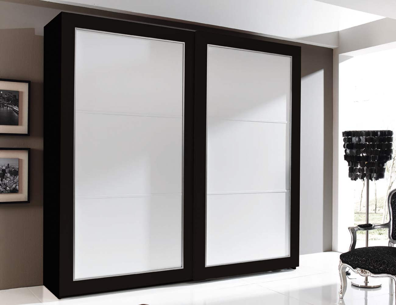 Armario 2p correderas 240x230x63 negro blanco3