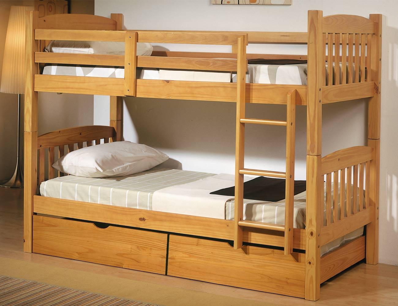 Cama litera dormitorio juvenil en madera color miel con - Cama de 90 con cajones ...