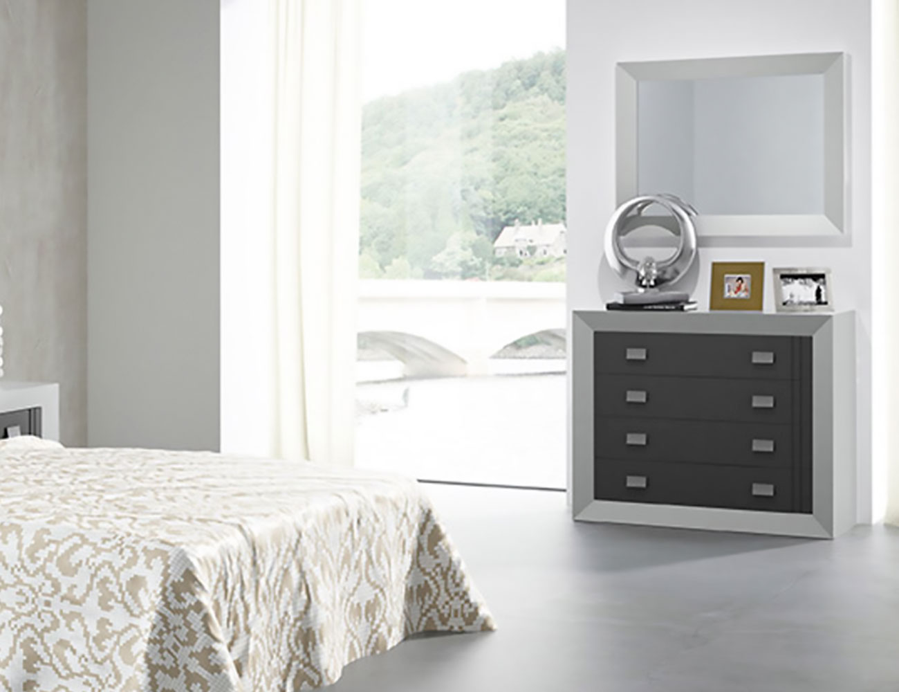 Muebles de dormitorio de matrimonio color blanco con grafito factory del mueble utrera - Muebles utrera ...