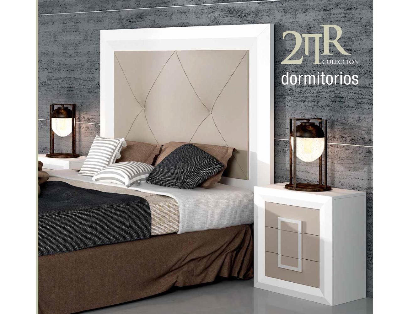Dormitorio de matrimonio con cabecero de plaf n y c moda for Dormitorio cabecero blanco