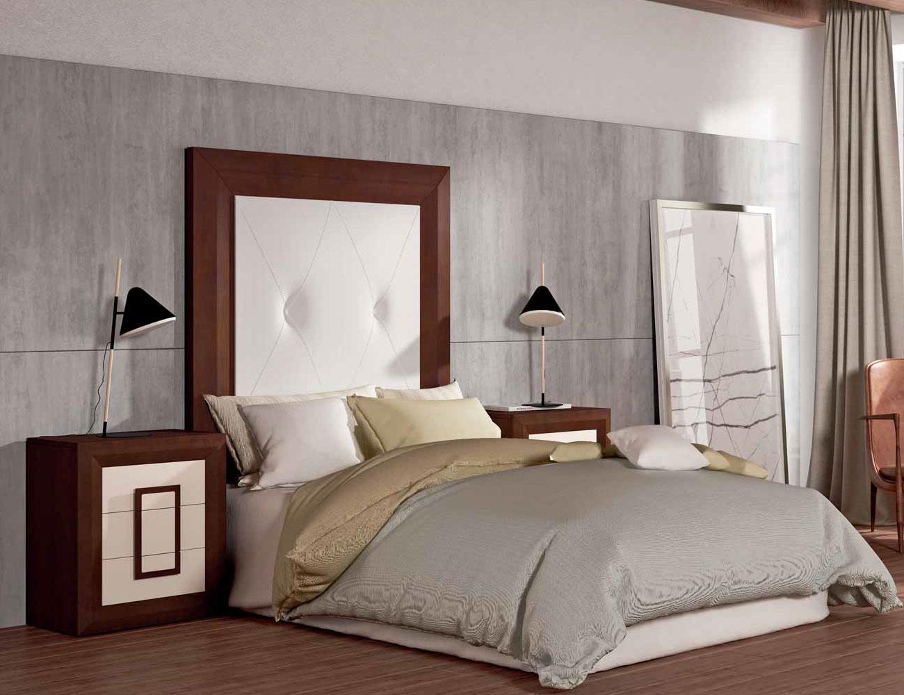 Dormitorio matrimonio cabecero tapizado nogal