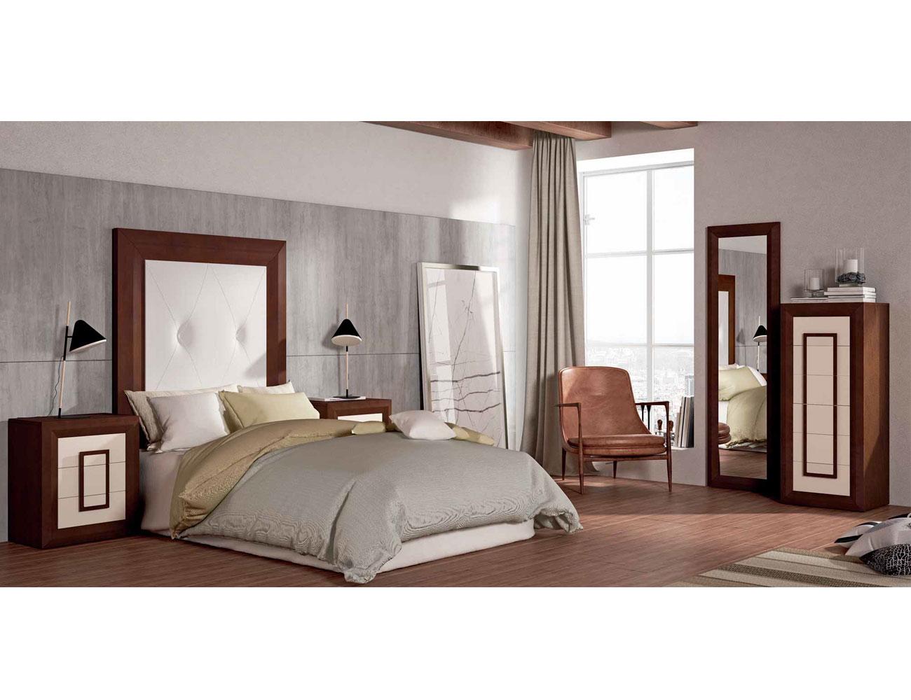 Dormitorio matrimonio cabecero tapizado sinfonier nogal