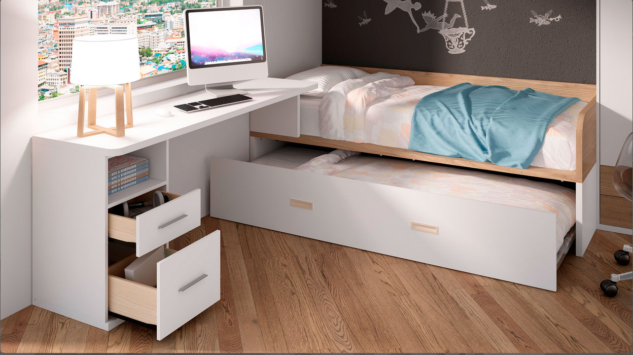 Dormitorio juvenil con cama nido base 30 con arrastre - Base cama almacenaje ...