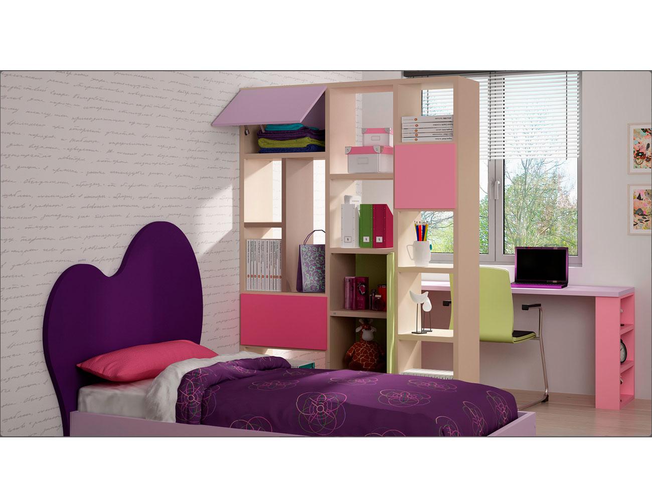 Dormitorio juvenil con cama cloud con separador de ambiente 13199 factory del mueble utrera - Muebles utrera ...