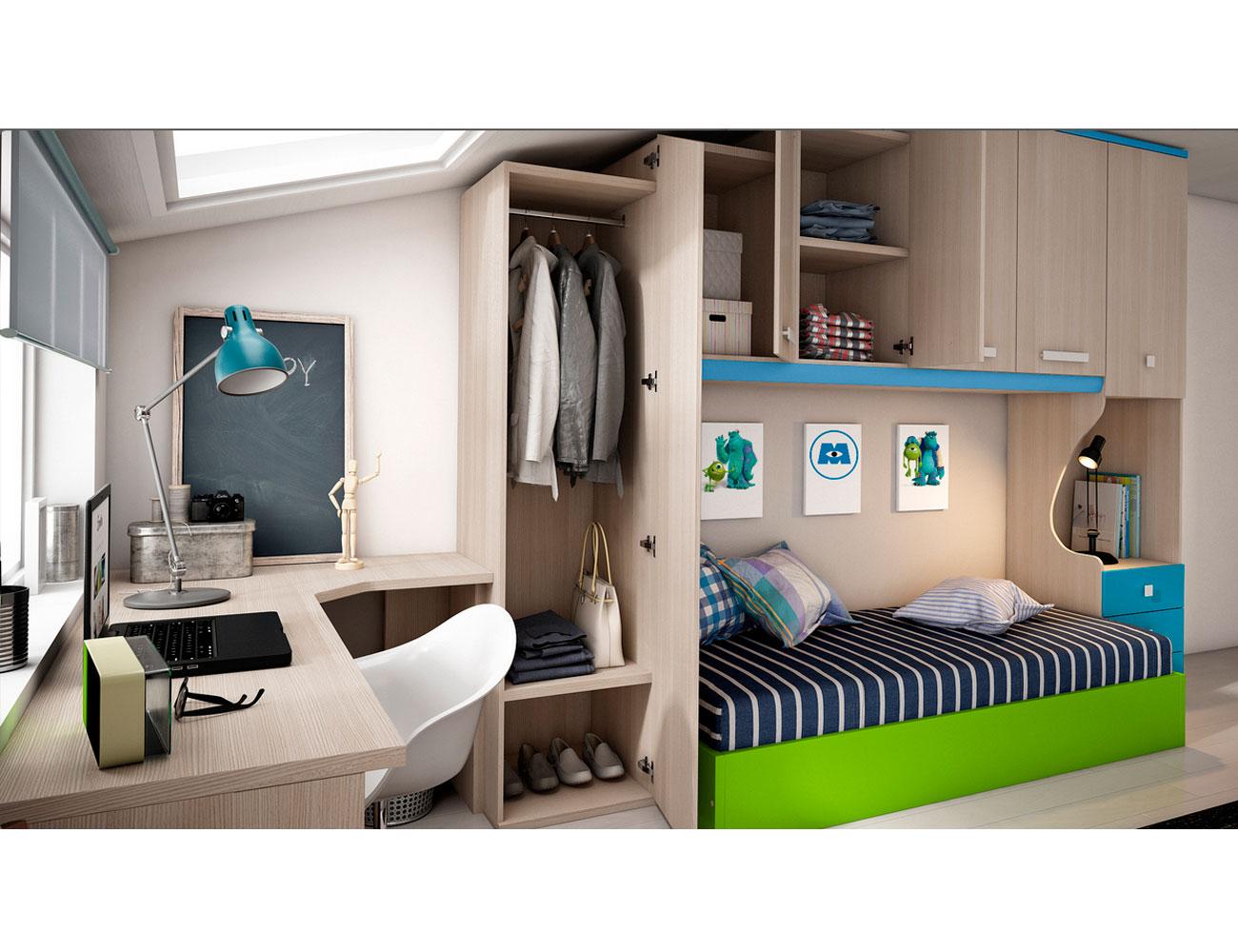 Dormitorio juvenil con puente abuhardillado 13150 for Mueble puente juvenil