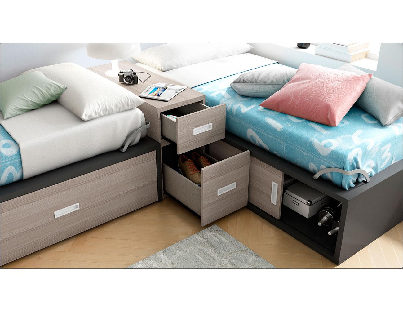 Dormitorio juvenil con dos cama nido dispuestas en l 13089 factory del mueble utrera - Muebles utrera ...
