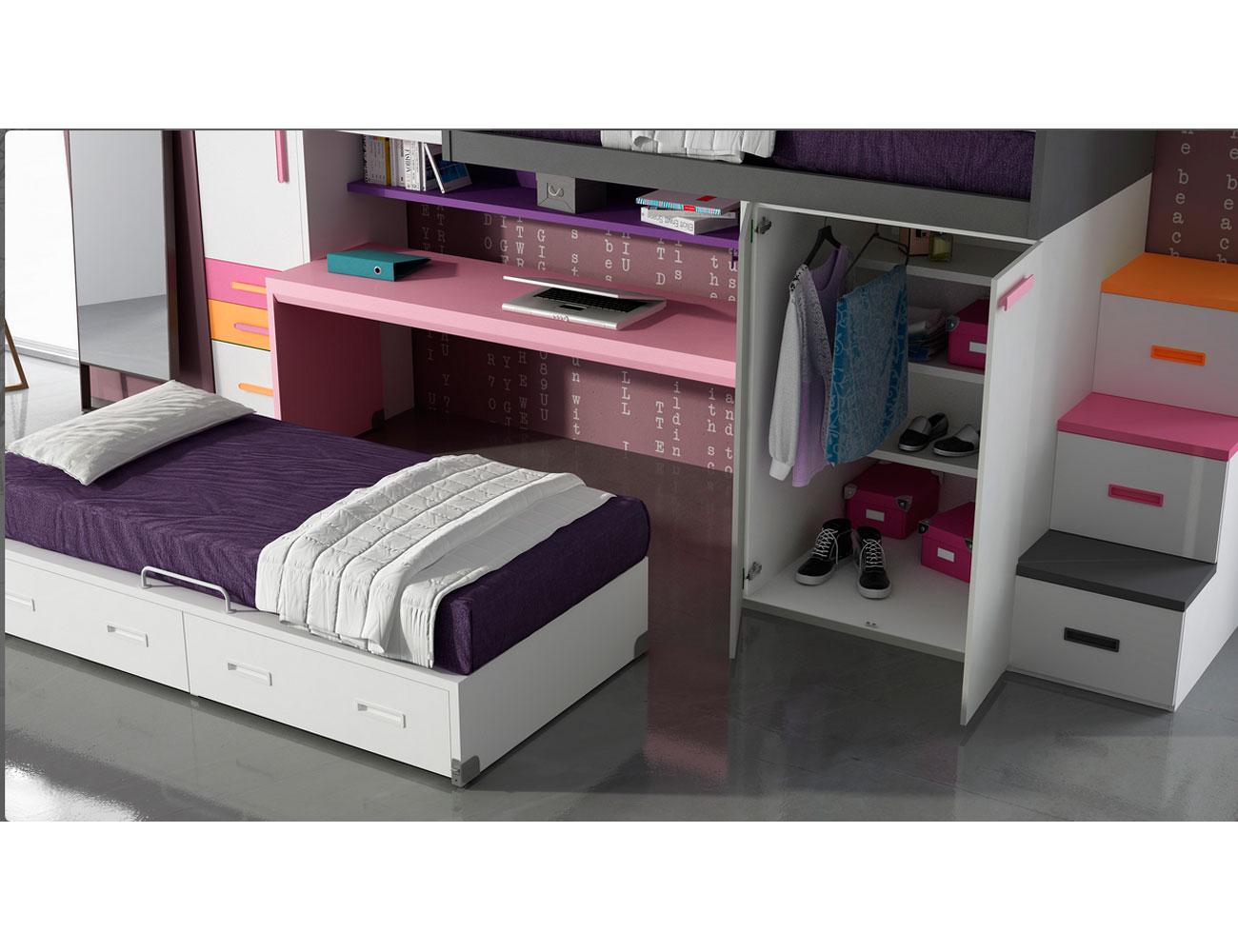 Dormitorio juvenil tren con nido y cama superior con armario 13273 factory del mueble utrera - Factory del mueble utrera ...