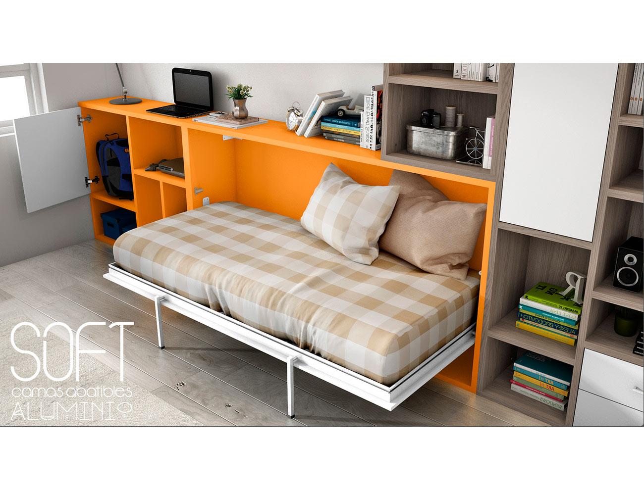 Dormitorio juvenil con cama abatible multifuncional y - Factory del mueble sevilla ...