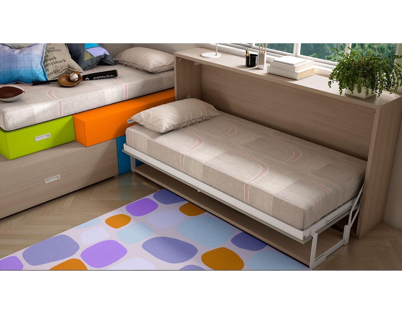 Dormitorio juvenil con 1 cama oculta y 1 cama abatible en for Cama oculta mueble