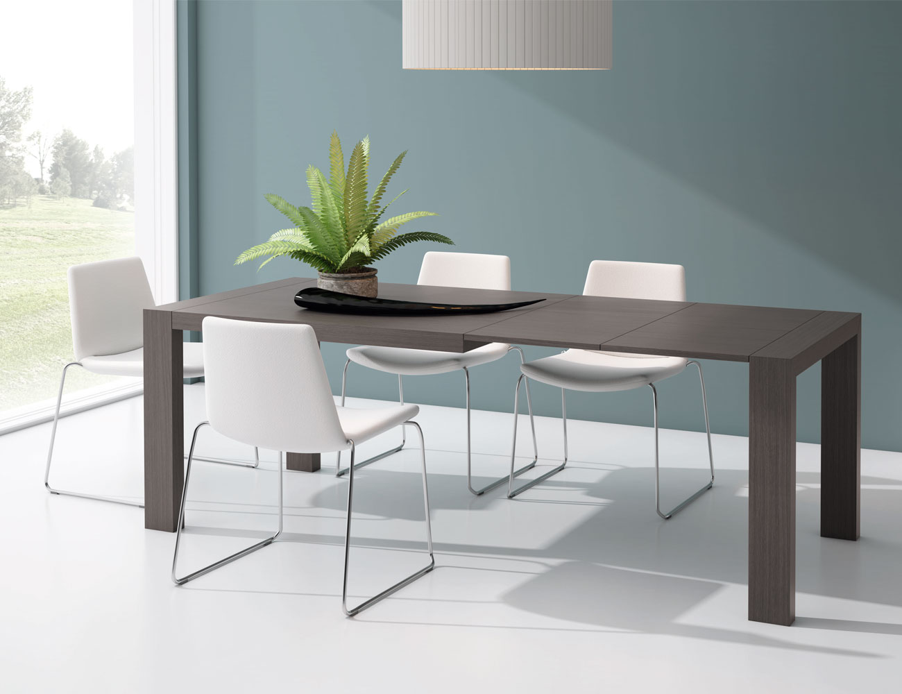 M223 mesa comedor rectangular extensible abierta ceniza8