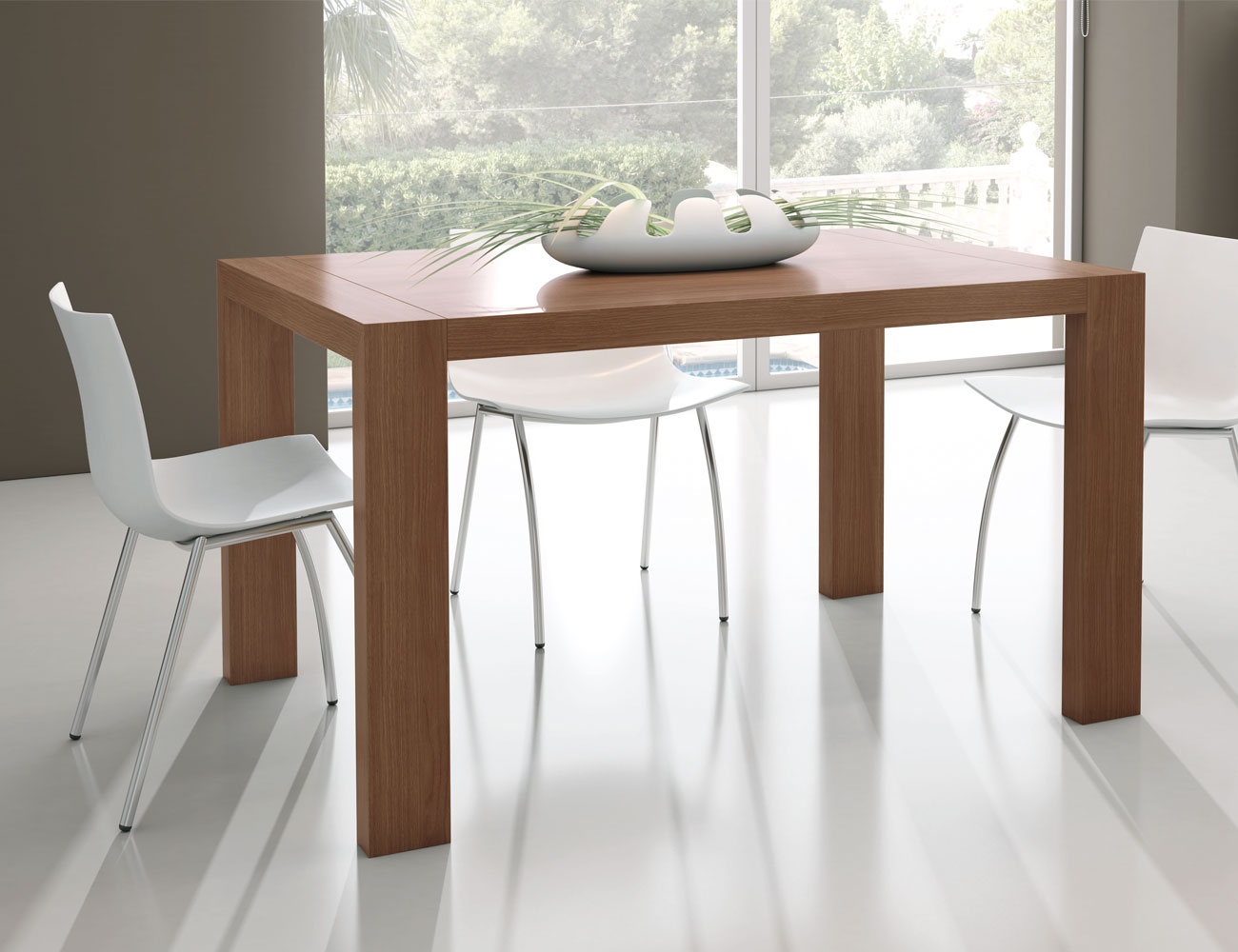 M223 mesa comedor rectangular extensible nogal