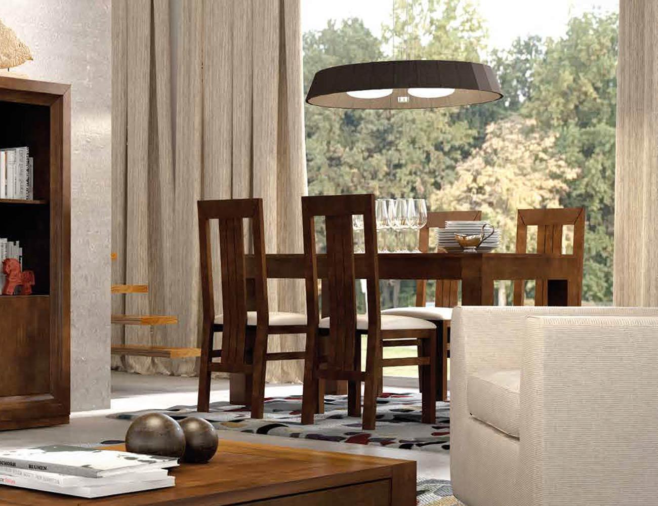 Mueble de sal n de estilo cl sico moderno en color nogal for Muebles estilo clasico moderno