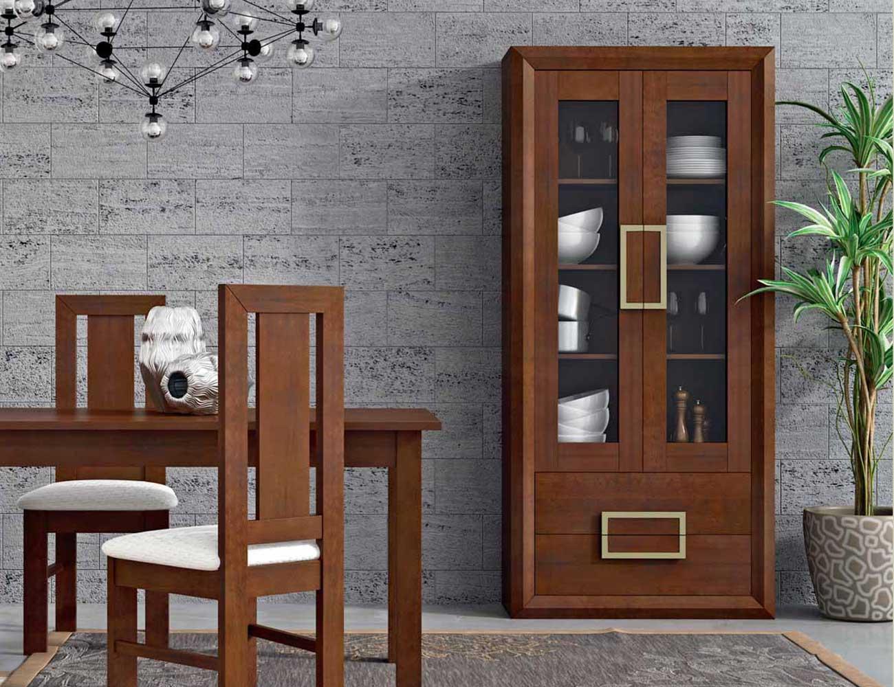 Mueble aparador color nogal combinado con champagne 7555 for Factory del mueble azuaga