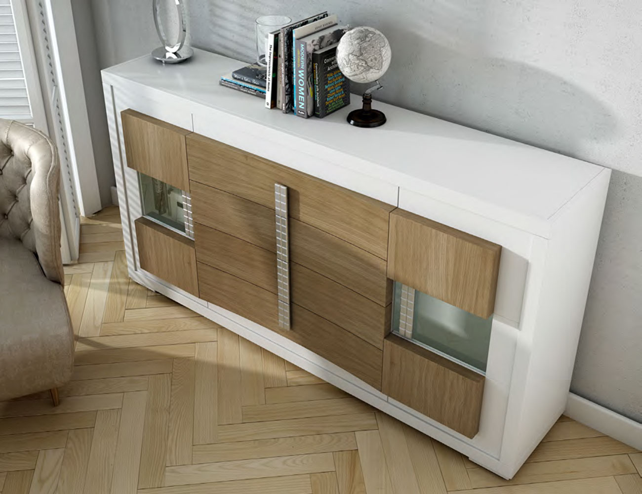 Aparador blanco cubos roble natural mueble