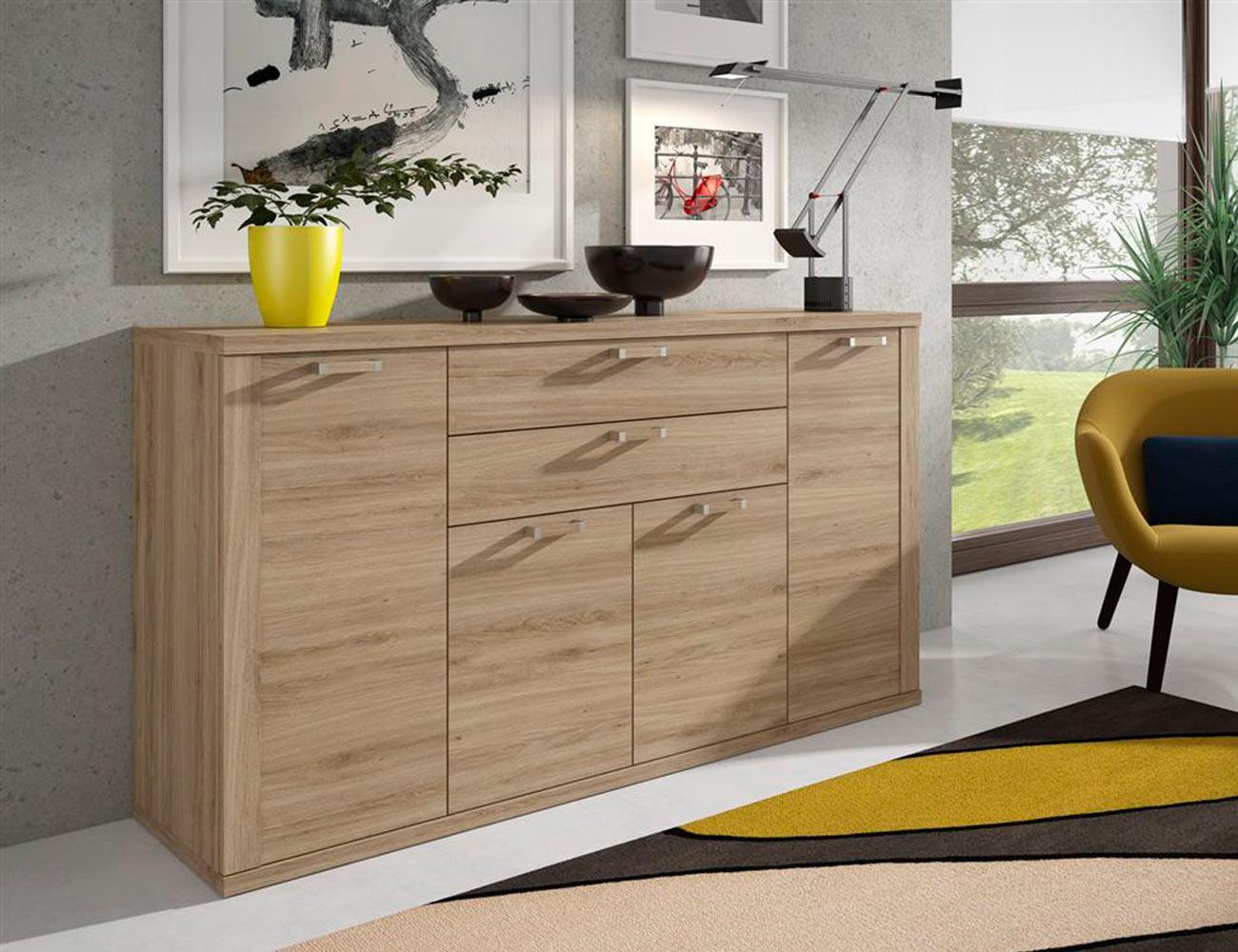 Mueble de sal n comedor estilo moderno color roble natural for Muebles salon color roble