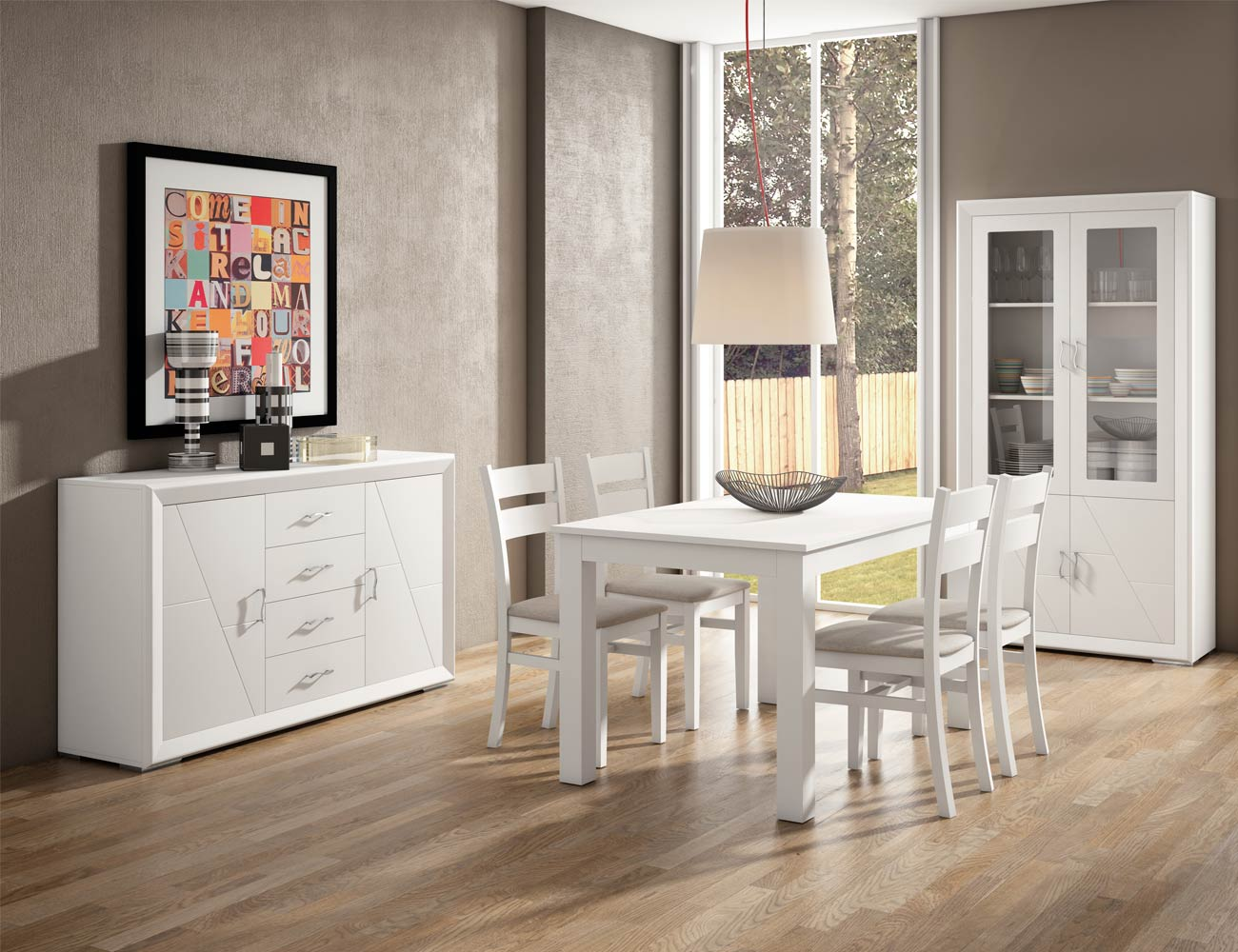 Aparador vitrina 2p silla tapizada mesa estensible madera dm lacado3