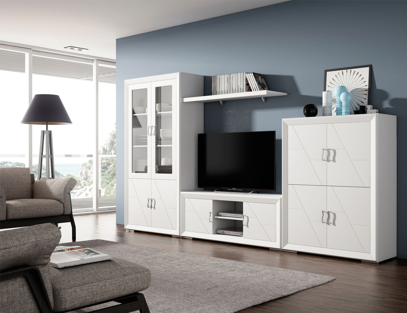 Pintar muebles de salon beautiful mueble salon ceniza for Mueble apilable salon