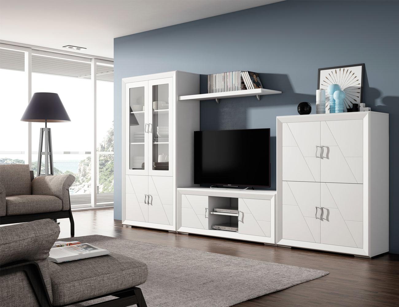 Mesa extensible en madera en color blanco lacado 8028 - Mueble comedor blanco ...
