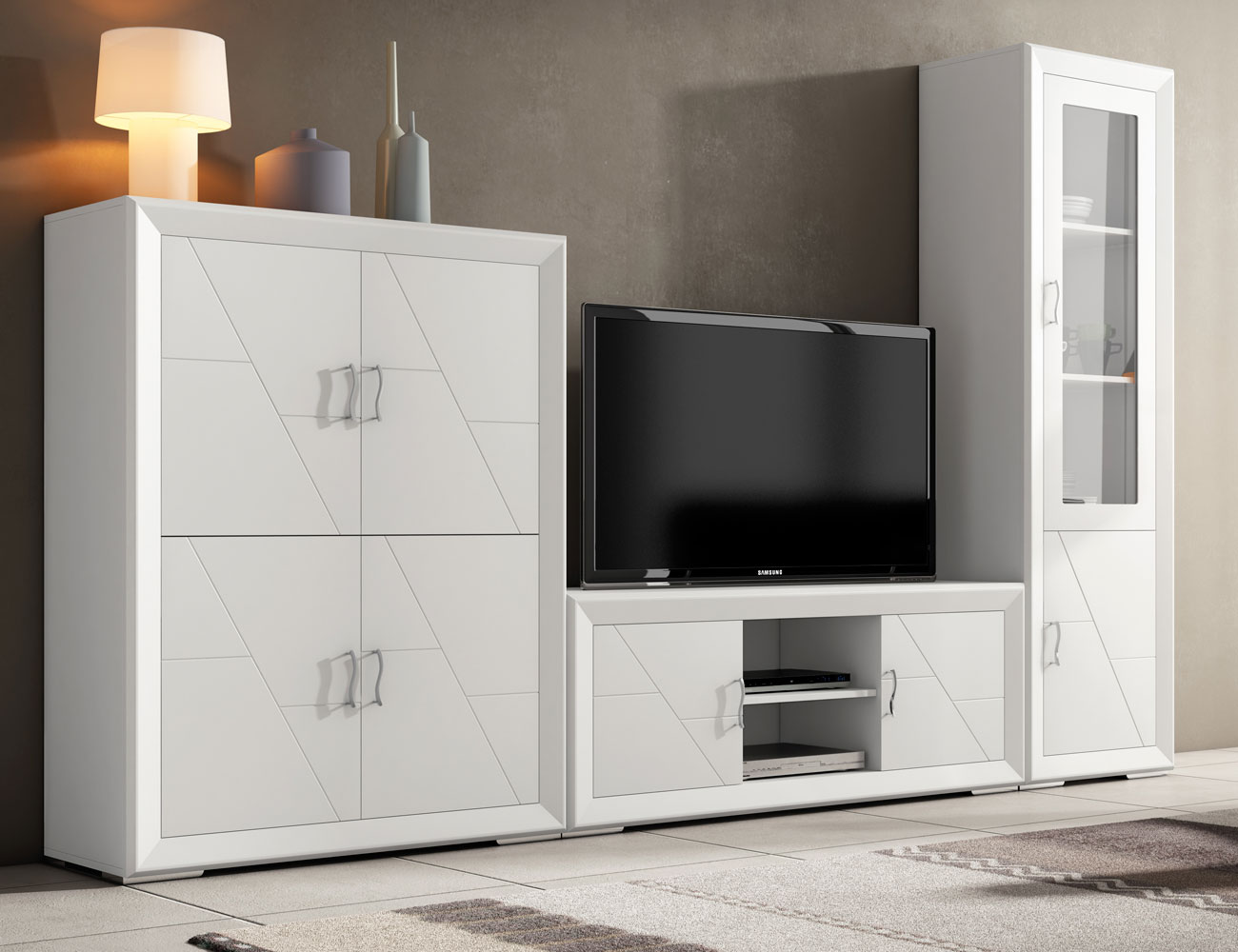 Mesa extensible en madera en color blanco lacado 8028 - Mueble salon blanco ...