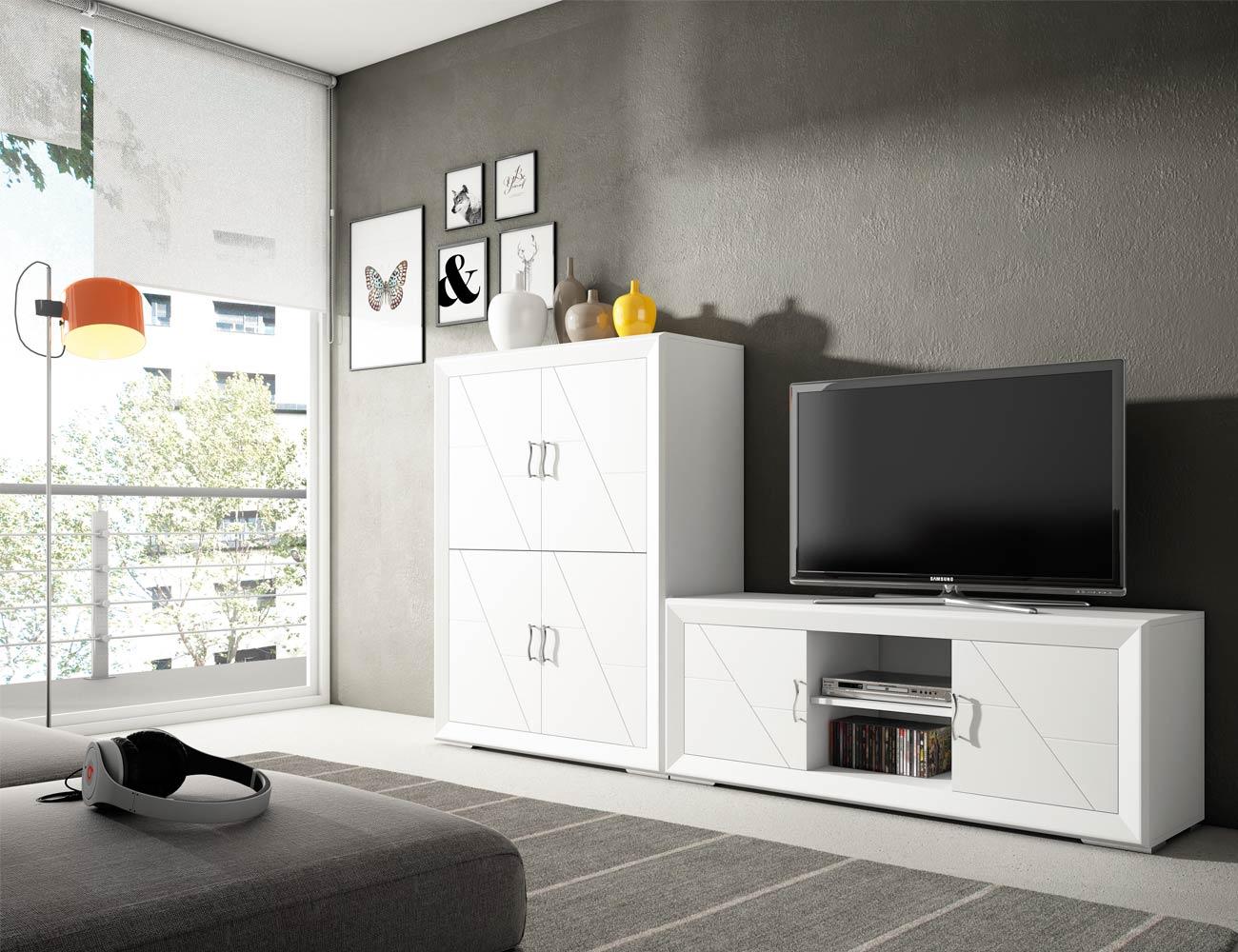 Mueble vitrina 2 puertas en madera en color blanco lacado for Mueble salon blanco