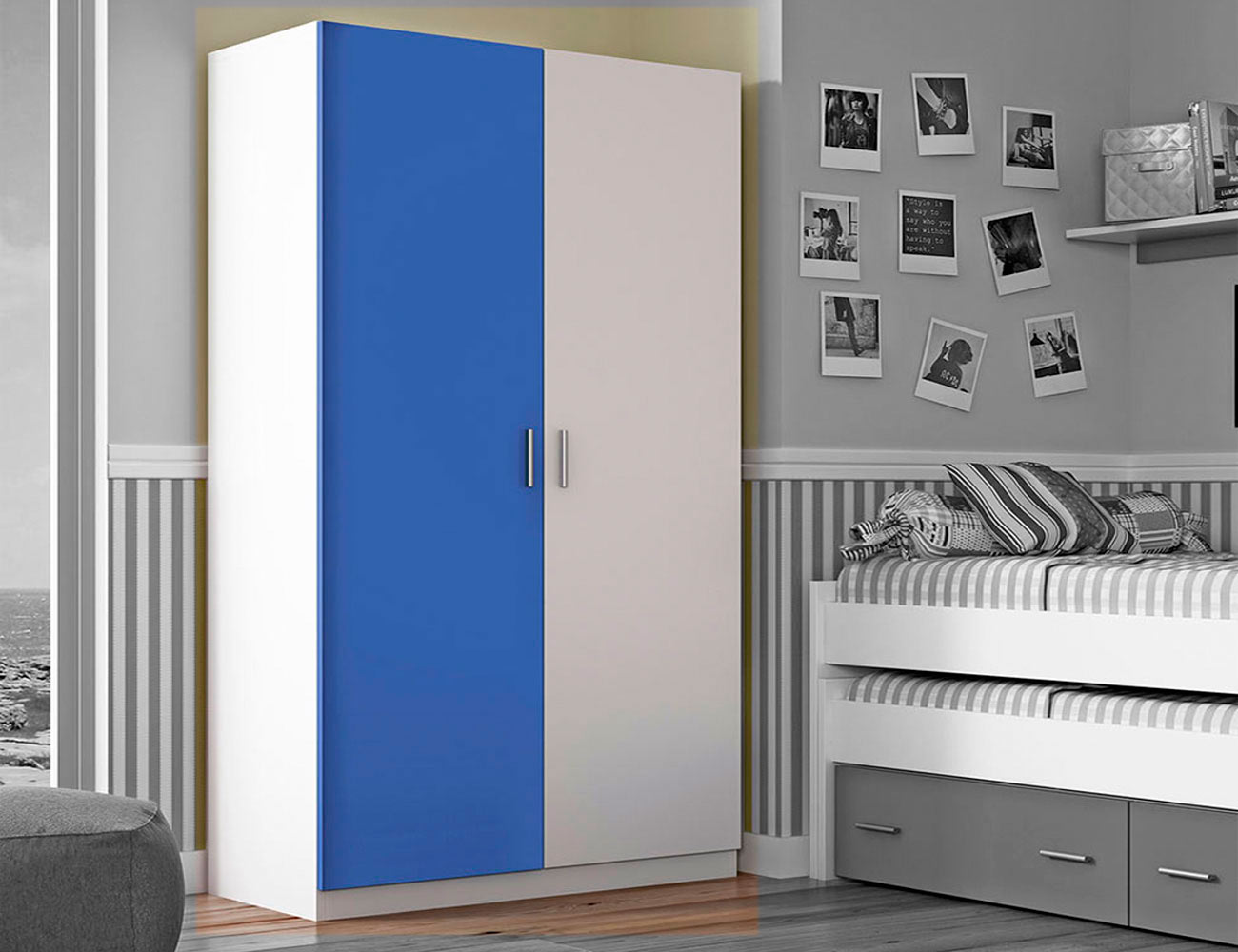 Armario 2 puertas blanco azul3