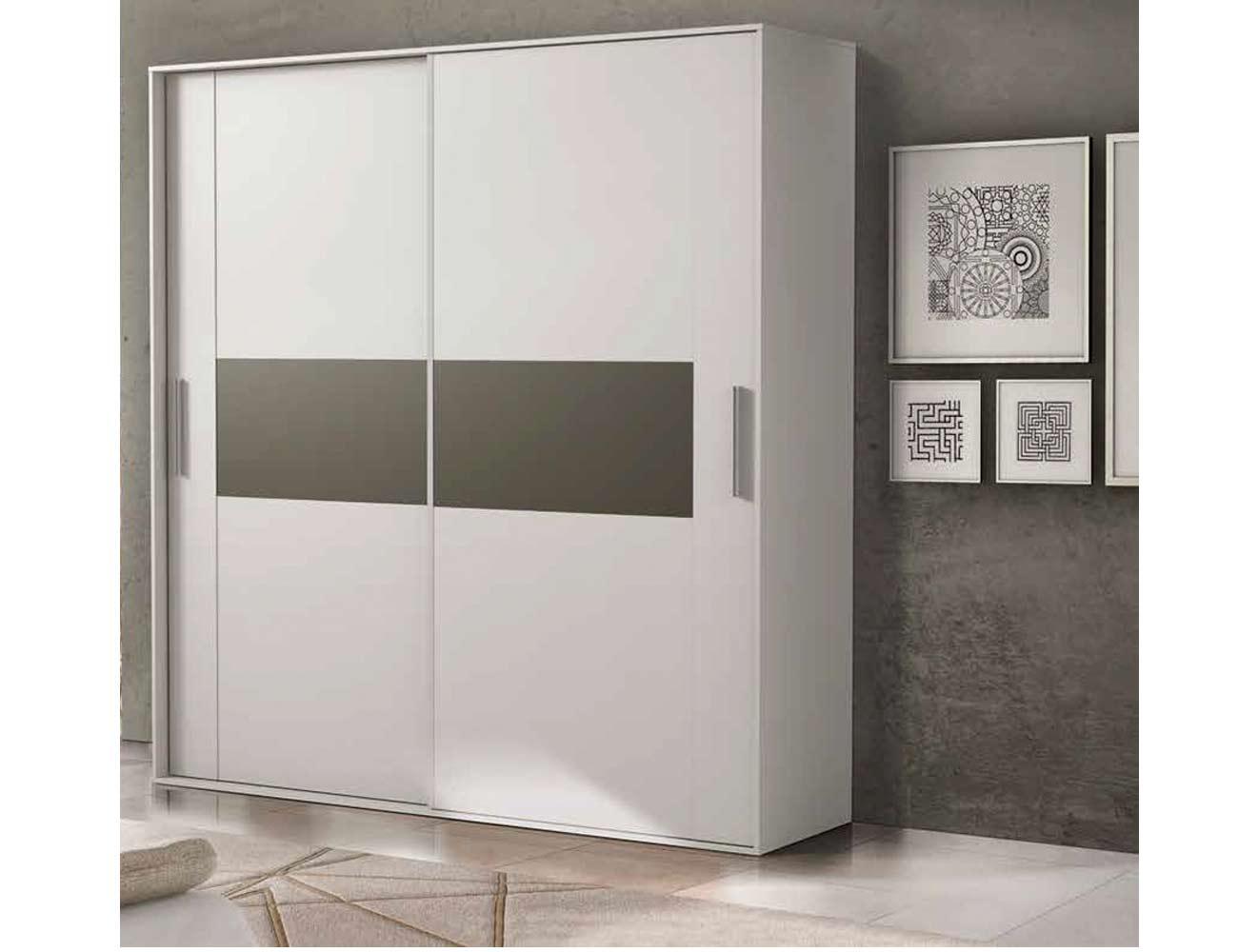 Armario 2 puertas correderas moderno blanco grafito