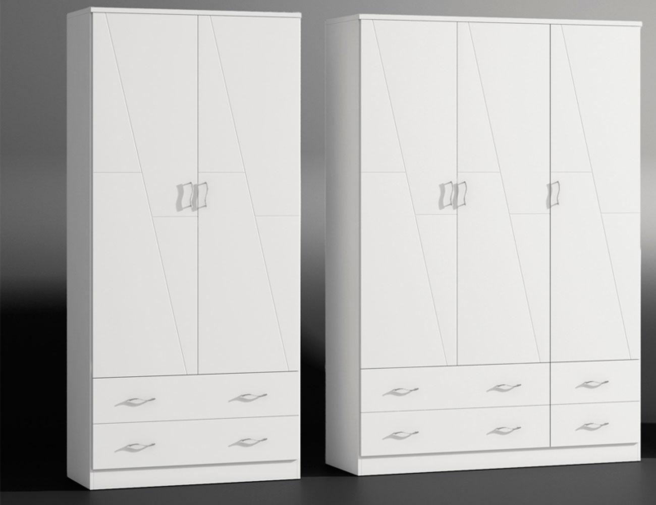Armario 2p 3p blanco lacado madera dm