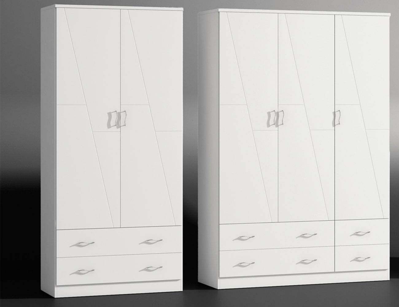 Armario 2p 3p blanco lacado madera dm2