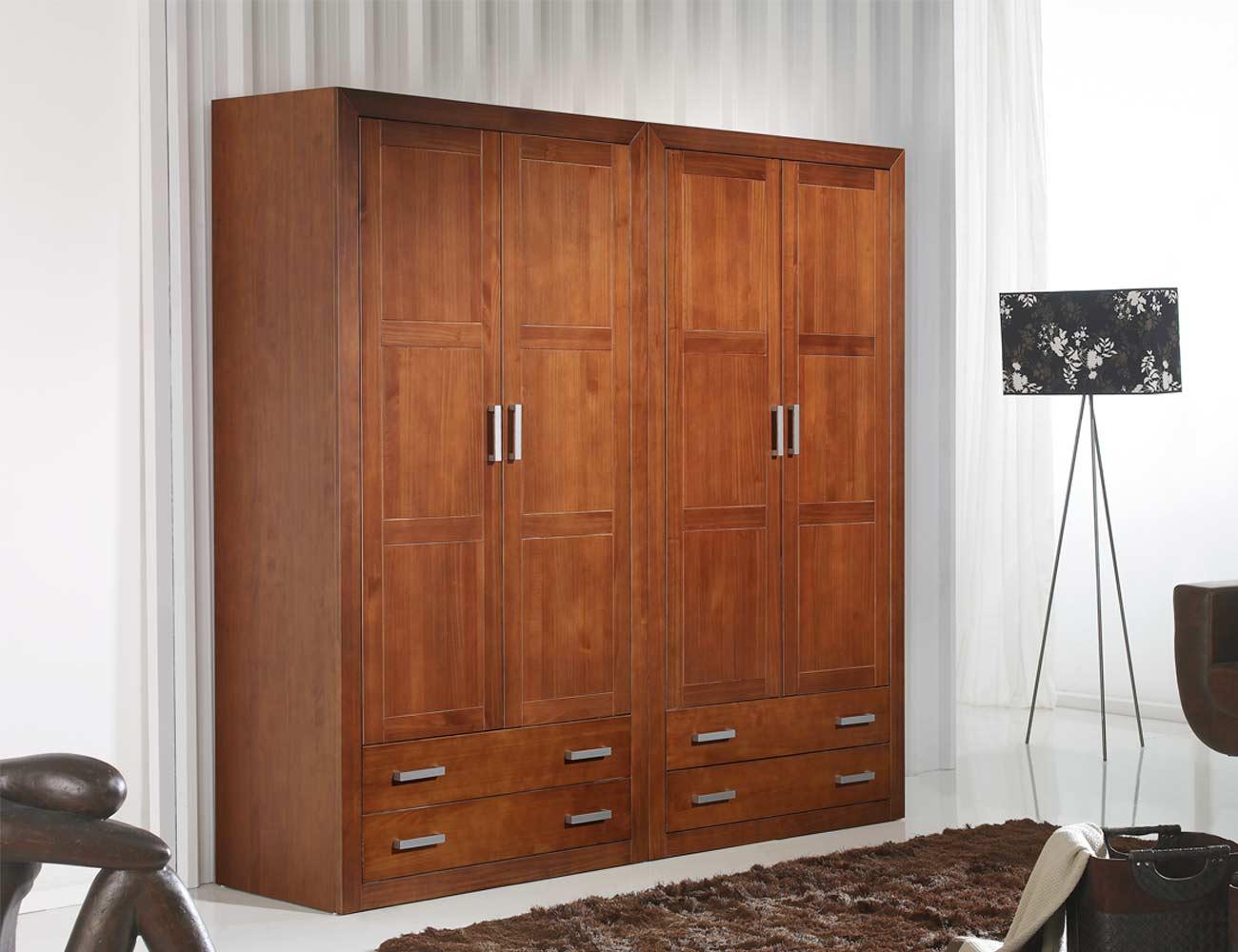 Armario madera puertas abatibles nogal
