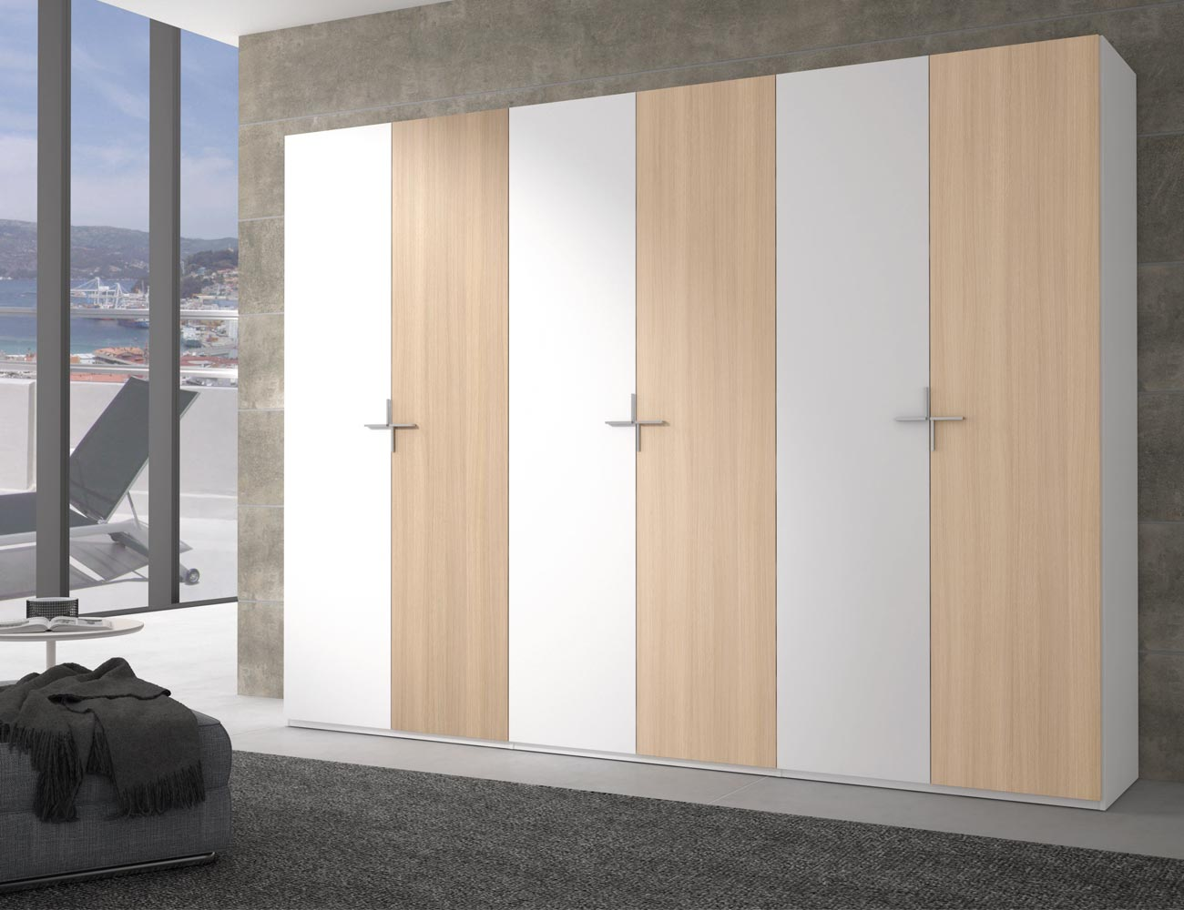 Armario puertas abatibles blanco roble4