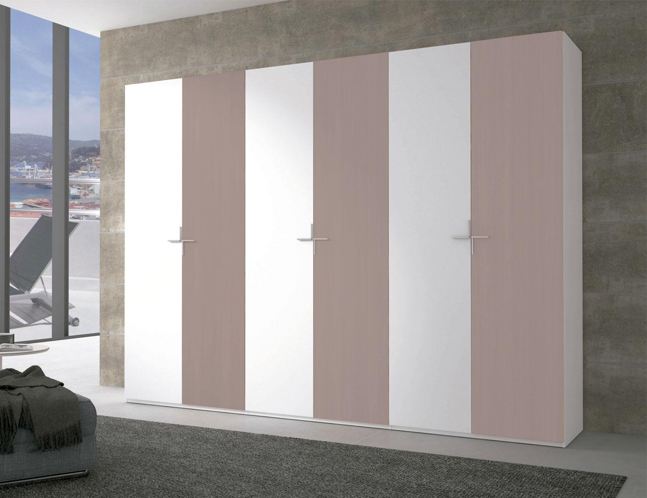Armario puertas abatibles moka blanco7
